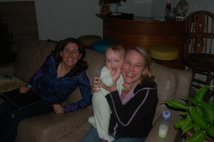Leyla, Maddie, and Heather - putting the baby to bed.  - Ventura, CA